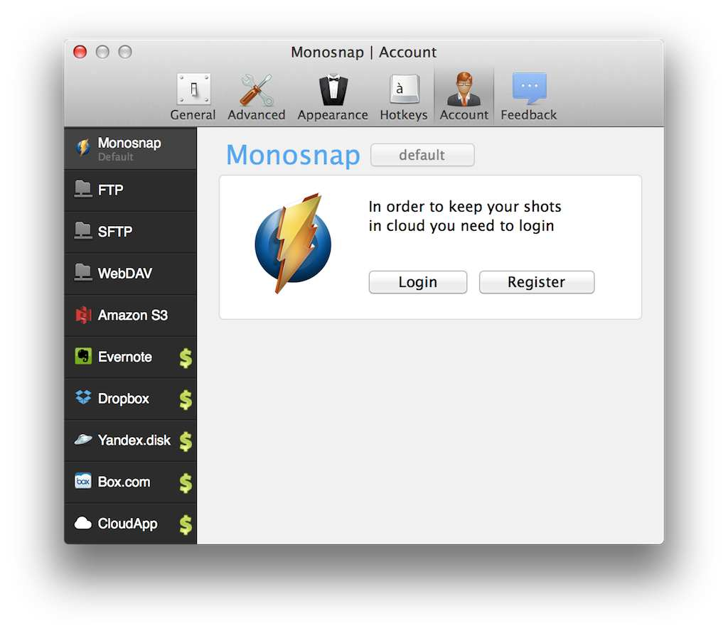 MonosnapとFTP、S3、Evernote、Dropboxと連携