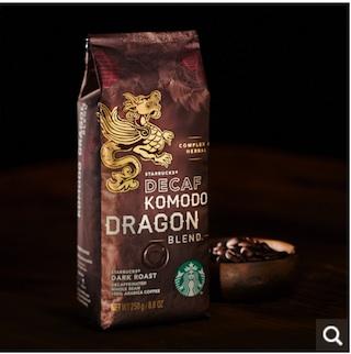 スタバでカフェインレスコーヒー(ディカフェ)を頼むと、豆はコモドドラゴンブレンドになる