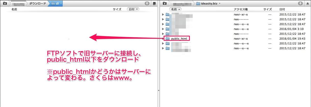 WordPressのサーバー引っ越し、FTPでデータをダウンロード