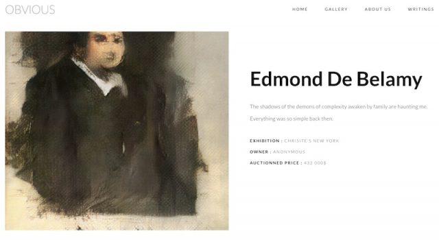 Obviousによる人工知能の描いた絵「Edmond de Belamy」